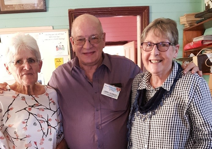 Gwenda Allen (Kimbriki Craft group), Terry Tournoff and Patricia Flemming (Wingham Tuesday group)